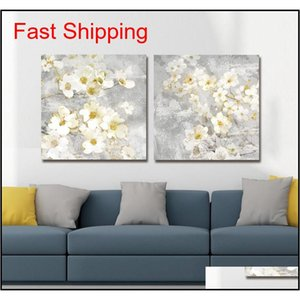 Dyc 10059 2pcs White Flowers Print Art Ready To jllLcO allguy