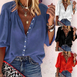Womens Spring Casual V-Neck 3 4 Sleeve Single Breasted Loose Pullover Blouse Top