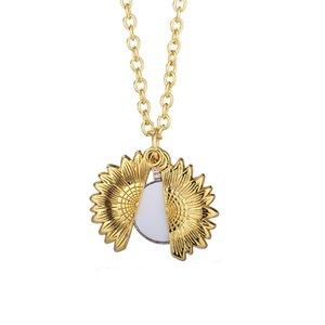 Термическая передача подвеска сублимации подсолнечника ожерелье из цинкового сплава пустые некроны серебряные и золотые металлические орнаменты LLE7018