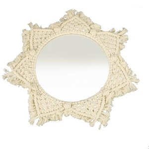 Macrame Mirror Handmade Tapestry Makeup Compact Home Bedroom Decorative Mirrors Wall Bohemia Decorations1