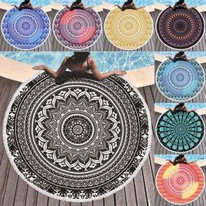 Mandala Plaj Havlusu 150 cm Yuvarlak Havlu Malzeme Su Emme Plaj Battaniye Bohemian Goblen Yoga Mat Kapakları HWB5188