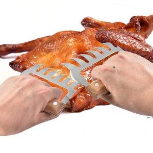 Металлические мясные когти из нержавеющей стали Мясные вилки с деревянной ручкой Прочный барбекю мясо измельчителя когтей кухонные инструменты барбекю инструмент HWF5335