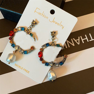 Vintage Color Earrings Crystal Exaggerated Charm Letters Studs Irregular Pearl Earrings Shiny Chaem For Woman Gift