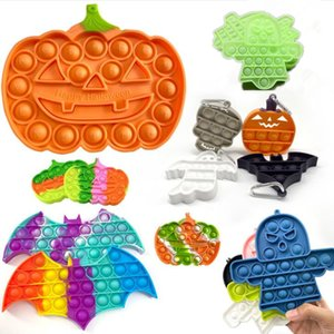 Halloween Abóbora Ghost Pioneer Fidget Brinquedos Keychain Pop Pop Arco-íris Desktop Puzzle Sensory Anti Stress Bubbles Board Decompression Toy Pandent 13cm G643ByD