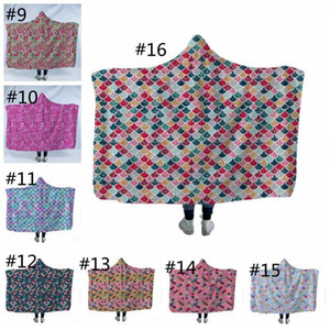 Русалка одеяло дети взрослых зима с капюшоном одеяла рыб масштаб плюшевые с капюшоном с капюшоном с капюшоном Sherpa Flece Wrap полотенце на открытом воздухе Travel Cloak LLS361