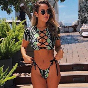 Bikini Swimwear Donne Manica corta Snake Stampa Bikini 2021 Costume da bagno femminile Stripe a due pezzi Set di corde