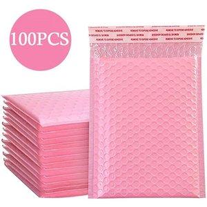 Сумки для хранения 50 шт. Розовый поли пузырьковые почтовые посылки мягкие конверты насыпные облицованные плиты для упаковки сам уплотнение