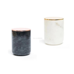 Marble Candle Jar With Gold Lid Home Candle Holders Decorative Stand Wedding Party Luxury Stand Cup