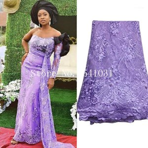 2020 High Quality African Lace Fabric Dusty Pink French Net Embroidery Tulle Lace Fabric For Nigerian Wedding Party Dress M31651