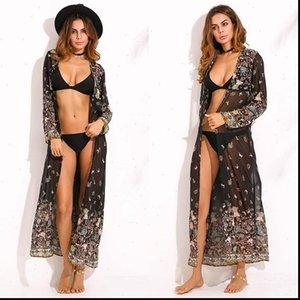 2021 Bohemian Floral Printed Chiffon Shirt Women Long Cardigan Vintage Summer Beach Kimono Femininas Blouse Maxi Vestido