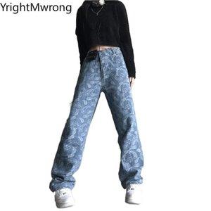 Talla grande Mujer Hombre Hip Hop Streetwear Fashion Bandana Lavado Azul Verano Denim Pantalón Jeans Vintage Boyfriend Baggy Summer Flojo