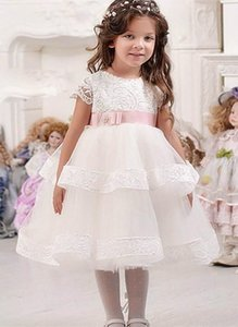 Cute White Lace Flower Girl Dresses First Communion Dress Tiered Party Prom Princess Pageant Gown With Pink Sashes