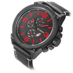 المعصم المعصم كورين الأزياء تصميم الهاتفي الكبير أسود أحمر عرض الرياضة على مدار الساعة مقاومة للماء الرجال الكوارتز ساعات أعلى الجلود