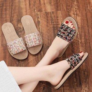 Kadın Ayakkabı Yaz Bohemia Çiçek Plaj Sandalet Kama Platformu Thongs Terlik Kadınlar için Terlikler Terlikler 2020 H0XZ #