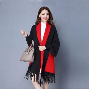 Mingjiebihuo New Cashmere Poncho Shawl With Modelos Mujeres en otoño e invierno Tarjeta caliente de doble cara Tassel Sólido Chicas