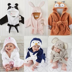 Pudcoco Cute Baby Bath Towel Coral Fleece Blanket Infant Hooded Wrap Bathrobe Animal Print Soft Cotton Robes 6m-5y 201104