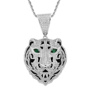"""New Men'S Hip Hop Iced Out Cubic Zircon Tiger Head Pendant Necklace Jewelry With 24"""" Stainless Steel Rope Chain"""