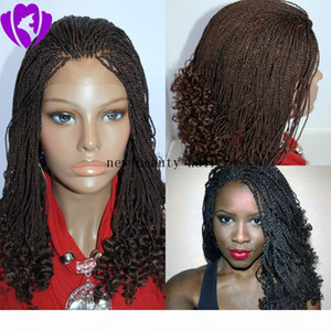 Short Natural Brown Synthetic Lace Front Braided Hair Kinky Twist Tips Black Women micro Braid Wigs Free Shipping
