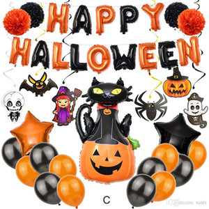 4 Style Happy Halloween Balloons Set Pumpkin Spider Cat Owl Witch Foil Latex Balloon Banner Halloween Decoration Party Supplies JK1909