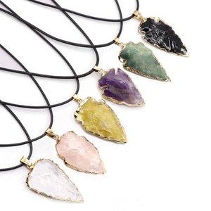 Big Size Arrowhead Pendant Necklace Healing Natural Onxy Agates Amethysts Black Obsidian Purple Quartz Pink Crystal Necklaces jewelry