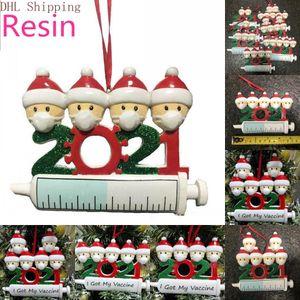 DHL 2021 Decorazione natalizia Ornamenti di quarantena Della Quarantena Famiglia di 1-9 teste ACCESSORI PENDENTE ALBERO DI DI TE con corda