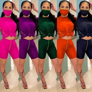 Womens 3 piece tracksuit with Face Mask loose t shirt biker shorts Outfits set summer clothes sportswear jogging gym 2 two piece clothing