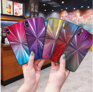 Gradient phone case For Samsung A70 A60 A50 A40 A10 M10 S10 PLUS A6 2018 J6 J4 S9 S8 Note 9 A9S Iphone XS MAX XR CD Spiral Pattern New Cove