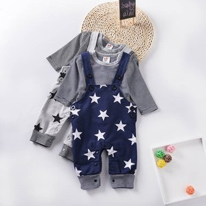 Boy Suit Boys Clothing Sets Baby Outfits Newborn Clothes Cotton Long Sleeve T Shirt Suspenders Trousers 0-15M B4220