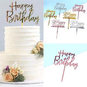 С днем рождения топпер топпер акриловая буква торт топперы партия поставляет счастливые день рождения черный торт вставка карточек украшения привод