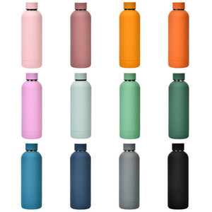 500ml Thermos Straight Tumbler Vacuum Insulated Sports Bottle Mug Cups 304 Stainless Steel Outdoor Travel Water Bottle Ice Thermos H32W34F