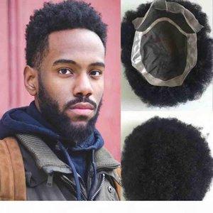 """Human Hair Wen's Toupee 6 """"# 1b Remy Indian Hair Afro Curl Hair American American Men's Toupee Mono Base con PU alrededor de Shi gratis"""