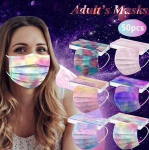 Tie-Dey Роскошь 3 слоя 95Filtration Эффективность дизайнера одноразовой партийной маски пылезащитный профилактика гриппа маски взрослых дышащий PBT-расплавленный нетка