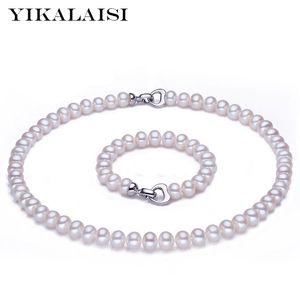 Yikalaisi 925 Sterling Silber Button Natürliche Süßwasserperlen Halskette Armband Mode Sets Schmuck Für Frauen 8-9mm Pearl L0310