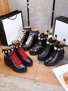 Scarpe da donna di alta qualità Primavera e autunno Nuovo tallone medio di cuoio del tallone rotondo del laccio del diamante Diamond Womens Boots Sun Single Boot Thick Heel Womens Moda