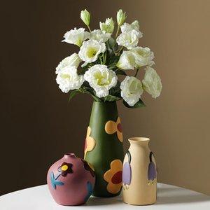 Semi-Hecho Adornos de cerámica Ornamentos Arreglo de Flores Porche Sala de estar TV Gabinete Decoración del hogar Accesorios