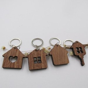 Ahşap Anahtarlık Evi Şekilli Anahtarlık Yüzük Housewarming Mevcut Yeni Ev Emlakçı Hediye