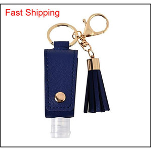 Hand Sanitizer Bottle Cover Pu Leather Tassel Holder Keychain Protable Keyring Cover Storage Bags Home Stora qylOgd wphome
