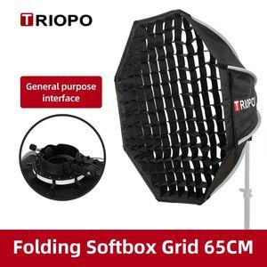 Triopo KX65 65cm Speedlite Octagon Umbrella Softbox + Honeycomb Grid Outdoor Flash Soft Box for Godox V1 Speedlite