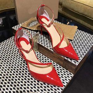 Sandali tacco sottile da donna di alta qualità Grandi taglia 35-41 scarpe da sposa in pelle rosa flash flash pantofole