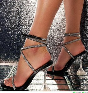 Large Size Plastic Sandal High Heels Black Shoes for Women Big Transparent Stiletto High-heeled Rhinestone Beige 2021 Girls Com