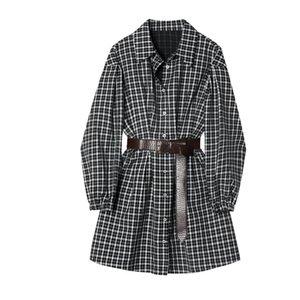 Girl's Dresses EOS LORIDAR Plaid Dress Women's Autumn 2021 Korean Style Waist Slimming ing College Shirt Falda Femenina