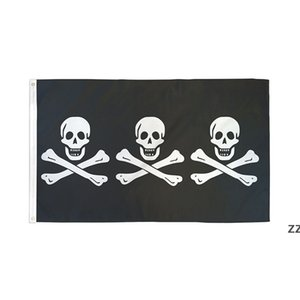 Three Pirate 3X5FT Black Flags Outdoor 150x90cm Banners 100D Polyester High Quality Vivid Color Two Brass Grommets HWD10507