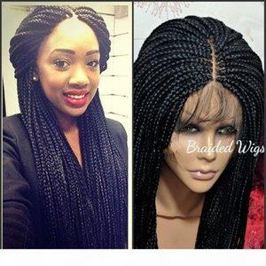 9A Yüksek Kalite Dantel Frontal Örgüler Peruk Ile Bebek Saç Tam Sentetik El Yapımı Koleksiyonu Uzun Örgülü Dantel Peruk Siyah Kadınlar Için