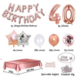 Party Decoration 35pcs Set 40 Birthday Decorations Rose Gold Years Confetti Balloon Tablecloth 40th Woman Man Deco Anniversaire DHD9242