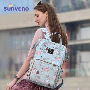 Sunveno Anne Bezi Çanta Büyük Kapasiteli Bebek Nappy Tasarımcı Hemşirelik Moda Seyahat Sırt Çantası Bakımı Anne Kid için 210727