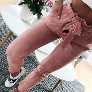 2021 Fashion Summer Women Suede Pants Style Ladies Leather Bottoms Female Trouser Casual Red Wine Pencil Pants High Waist Pants Y19070301