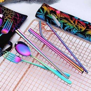 Chopsticks Conjuntos de cubiertos de acero inoxidable Spmoons Cuchillo Pajas Limpieza Limpieza Cepillo Color Colorido Portátil Reutilizable Reutilizable Set IIA173 9Zsp