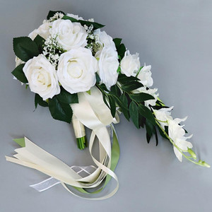 شلال الحرير روز باقة الزفاف لصيفه الشرف باقات الزفاف الأبيض الزهور الاصطناعية طيران خطاباتخطابهزوجات الديكورات المنزلية