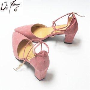 DRFARGO NUOVA Fashion Lady's Chunky Pumps Donne 7 cm Block Heel Caviglia Fibbia cinturino Chaussure Shoes Shoes 34-39