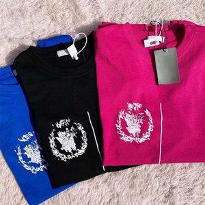 Women Geometric Letter Print T-shirt Woman Summer T Shirt Men Casual Fashion Top Man Tees Blue 3 Colors Trendy Street Style Hip Hop Ins New